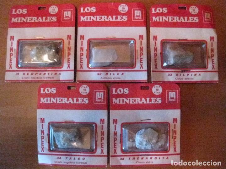 LOTE DE 5 MINERALES DE LA COLECCION MINPEX DE LOS AÑOS 70 VALOR DE CADA CAJITA 10 PTAS Nº 31 A 35 (Coleccionismo - Mineralogía - Otros)