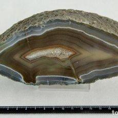 Coleccionismo de minerales: ÁGATA PULIDA. YACIMIENTO 'LA LIMEÑA' ARTIGAS. URUGUAY. PESO 1.418 GR. DIMENSIONES 180 X 80 MM. Lote 69902893