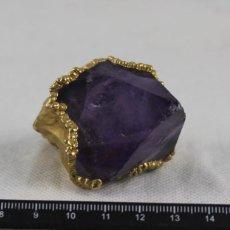 Coleccionismo de minerales: CRISTAL DE AMATISTA,RECUBRIMIENTO DORADO,PESO 113 GRAMOS,DIMENSIONES 61 X 74 MM. Lote 109420838