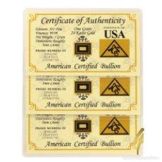 Coleccionismo de minerales: USA 3 LINGOTES ORO PURO 999.9 DE 1.GR. ONE GRAMOS 24.KILATES EN BLÍSTER CERTIFICADOS. Lote 133232670