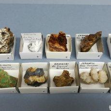 Coleccionismo de minerales: 10 MINERALES - CUARZO, GALENA, HESSONITA, ANDRADITA, ARAGONITO, MALAQUITA, MAGNESITA. Lote 156650506