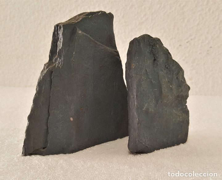Coleccionismo de minerales: BONITA PAREJA DE PIEDRAS CALIZA CON MENSAJE (LA PAZ CON NOSOTROS) - 7.5X11 Y 12X13.CM - 680.GRAMOS - Foto 4 - 159015090