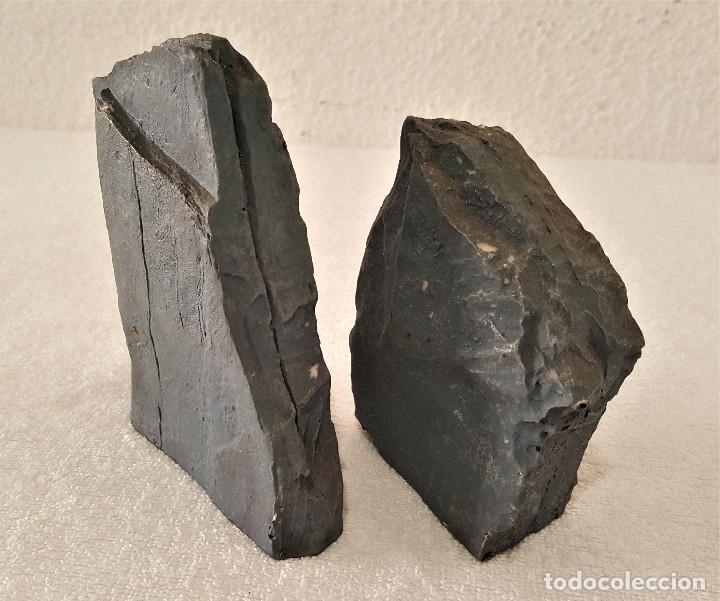 Coleccionismo de minerales: BONITA PAREJA DE PIEDRAS CALIZA CON MENSAJE (LA PAZ CON NOSOTROS) - 7.5X11 Y 12X13.CM - 680.GRAMOS - Foto 5 - 159015090
