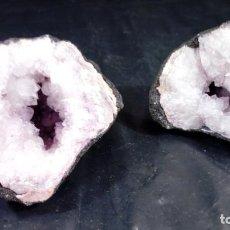 Coleccionismo de minerales: GEODA DE AMATISTA NATURAL, CUARZO Y CALCITA. ABIERTA EN DOS MITADES.. Lote 183481208