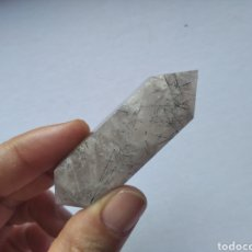 Coleccionismo de minerales: PUNTA MINERAL CRISTAL CUARZO GRIS RUTILADO BITERMINADA / 70 X 22 X 22 CM. Lote 197426676