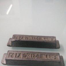 Collezionismo di minerali: DOS MINILINGOTES DE PLOMO INS. FA LA CRUZ LINARES. 2X148 GR. FUNDICIÓN Y MINAS LA CRUZ, LINARES.. Lote 197750325