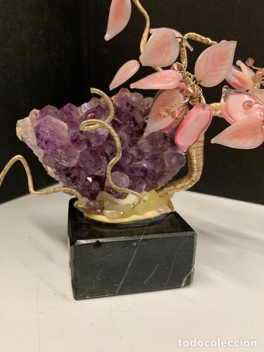 Coleccionismo de minerales: Precioso bonsai de murano, montado sobre una amatista autentica y peana de marmol - Foto 8 - 221822378