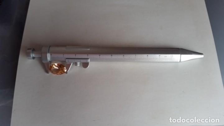 Coleccionismo de minerales: Bolígrafo para medir Gemas o Minerales en Gris Plata. Escalado en mm. Hasta 10 Cm. - Foto 2 - 222844566