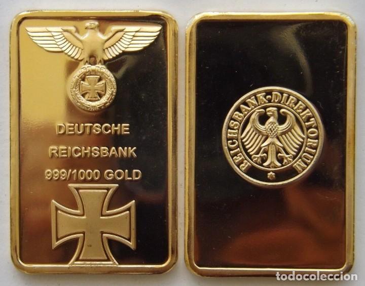 REICHSBANK GOLD BARRA LINGOTE ORO CHAPADA ALEMAN CRUZ Y AGUILA - 28 X 43.MM - 28.13.GRAMOS (Coleccionismo - Mineralogía - Otros)
