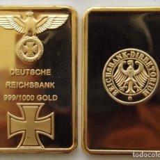 Coleccionismo de minerales: REICHSBANK GOLD BARRA LINGOTE ORO CHAPADA ALEMAN CRUZ Y AGUILA - 28 X 43.MM - 28.13.GRAMOS. Lote 243336240