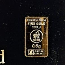 Coleccionismo de minerales: LINGOTE ORO 24.KT. MACIZO Y PURO 999.9 CERTIFICADO EN BLISTER ITS A GIRL 0,5.GR. Lote 246184895