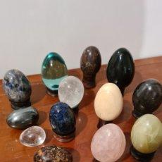 Coleccionismo de minerales: LOTE 14 HUEVOS MACIZOS DE DIFERENTES PIEDRAS. Lote 246192190