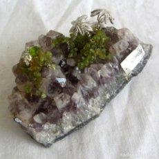Coleccionismo de minerales: CUARZO AMATISTA CON OLIVINO, RECUERDO DE LANZAROTE. Lote 251353990