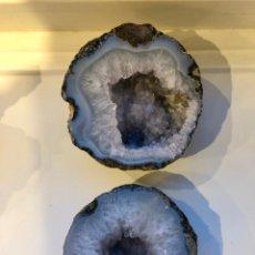 Coleccionismo de minerales: PAREJA DE GEODAS DE ÁGATA Y CUARZO. Lote 254422720