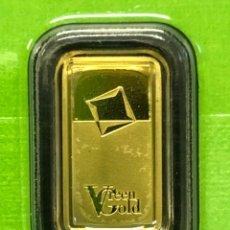 Coleccionismo de minerales: LINGOTE DE ORO PURO 24 QUILATES - 1,00 GRAMO - GREEN GOLD VALCAMBI SUIZA. Lote 295487508