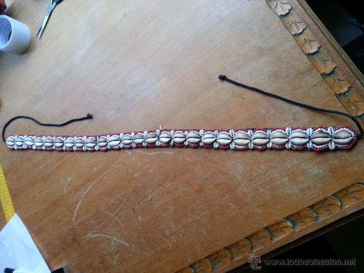 Coleccionismo de moluscos: preciosa correa cinturon con 25 conchas marinas caracola erosaria caputserpentis grandes y 48 chicas - Foto 5 - 172720685