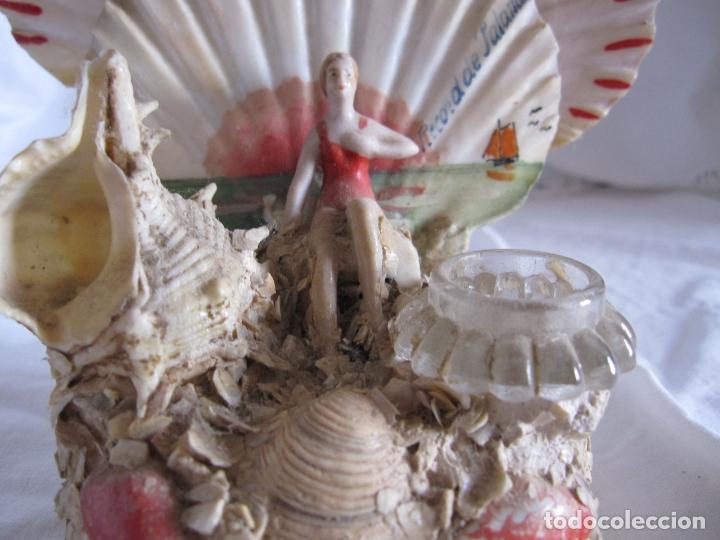 Coleccionismo de moluscos: TINTERO RECUERDO DE PALAMOS. BAÑISTA Y COMPOSICIÓN DE CONCHAS. 13 X 12 X 8 CM - Foto 2 - 178338487