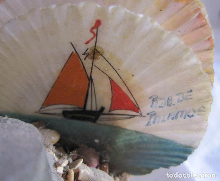 Coleccionismo de moluscos: TINTERO RECUERDO DE PALAMOS. DECORACIÓN CON BARCOS PINTADOS Y CONCHAS. 6 X 12 X 6 CM - Foto 3 - 178339223