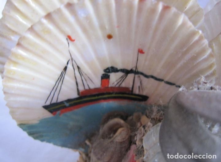 Coleccionismo de moluscos: TINTERO RECUERDO DE PALAMOS. DECORACIÓN CON BARCOS PINTADOS Y CONCHAS. 6 X 12 X 6 CM - Foto 6 - 178339223