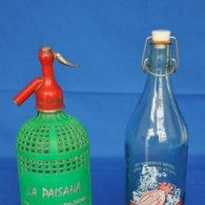 Coleccionismo Otros Botellas y Bebidas: SIFÓN Y BOTELLA DE GASEOSA LA PAISANA. . Lote 80805007