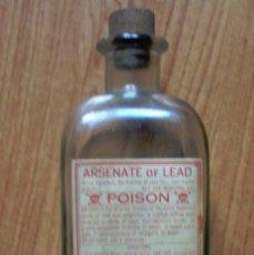 Coleccionismo Otros Botellas y Bebidas: BOTELLA DE CRISTAL CON ETIQUETA ARSENATE OF LEAD POISON - ARSENIATO DE PLOMO. Lote 84932184