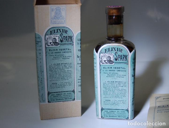FRASCO DE FARMACIA ELIXIR SPARK FARMACIA DEL GLOBO // SIN DESPRECINTAR DE MUSEO (Coleccionismo - Otras Botellas y Bebidas )