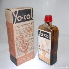Coleccionismo Otros Botellas y Bebidas: FRASCO DE FARMACIA YO-COL ELIXIR ANTIRREUMÁTICO LAB. CAMPOS FILLOL VALENCIA // SIN DESPRECINTAR. Lote 87402192