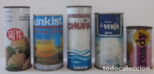 CINCO ANTIGUAS LATAS DE ZUMO - AÑOS 70 (Coleccionismo - Otras Botellas y Bebidas )