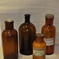 Coleccionismo Otros Botellas y Bebidas: LOTE DE 4 FRASCOS DE FARMACIA DE VIDRIO SOPLADO COLOR AMBAR. Lote 88190000