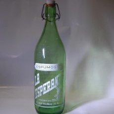 Coleccionismo Otros Botellas y Bebidas: BOTELLA DE GASEOSA LA ESPERANZA DE PEDRO MUÑOZ CIUDAD REAL. Lote 90210344