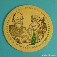 Coleccionismo Otros Botellas y Bebidas: POSAVASOS CARTÓN IMPRESO SEVEN UP 7 UP. DEGAULLE Y BOB MARLEY. Lote 95706519