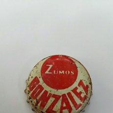 Coleccionismo Otros Botellas y Bebidas: ANTIGUA CHAPA CON EL DORSO DE CORCHO ZUMOS GONZALEZ. Lote 96316615