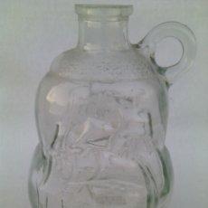 Coleccionismo Otros Botellas y Bebidas: BOTELLA CRISTAL SOPLADO CON ASA Y BARCO EN RELIEVE.. Lote 96996098