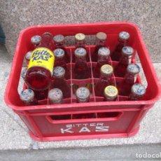 Coleccionismo Otros Botellas y Bebidas: CAJA CON 20 BOTELLINES BOTELLAS ' BITTER KAS ' 15CL, CONJUNTO LIMPIO 7.5 KILOS + INFO Y FOTOS. Lote 98151243
