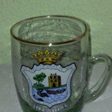 Coleccionismo Otros Botellas y Bebidas: JARRA DE CERVEZA O VINO EN VIDRIO CON ESCUDO DE LEQUEITIO BEER GLASS 9 CMS. Lote 98164555