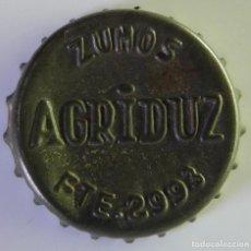 Coleccionismo Otros Botellas y Bebidas: CHAPA TAPON CORONA DE ZUMOS AGRIDUZ. TRASERA DE CORCHO. NUNCA ANUNCIADO NI VENDIDO EN TODOCOLECCION. Lote 101243595