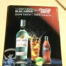 Coleccionismo Otros Botellas y Bebidas: CHAPA METÁLICA DE PUBLICIDAD RON BACARDI Y COCA COLA. Lote 103458603