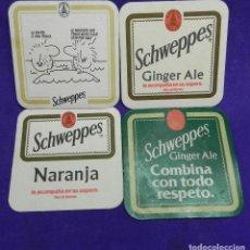 Coleccionismo Otros Botellas y Bebidas: LOTE DE 4 ANTIGUOS POSAVASOS DE TONICA SCHWEPPES. Lote 104229295