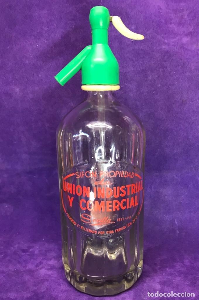 ANTIGUO SIFÓN DE UNIÓN INDUSTRIAL Y COMERCIAL DE SEVILLA (Coleccionismo - Otras Botellas y Bebidas )