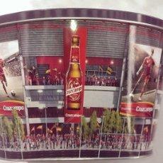 Coleccionismo Otros Botellas y Bebidas: CUBITERA GRANDE TIPO BAR METALICA LITOGRAFIADA CERVEZA CRUZCAMPO. Lote 114862663