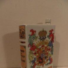 Coleccionismo Otros Botellas y Bebidas: BOTELLA ANIS CASTILLO DE CHINCHON EN FORMA DE LIBRO EN CERAMICA O PORCELANA , VACIA. Lote 122236015