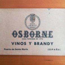 Coleccionismo Otros Botellas y Bebidas: BLOC POSTALES PUBLICIDAD OSBORNE VINOS Y BRANDY PUERTO DE SANTA MARÍA - CÁDIZ POSTAL BODEGA. Lote 126248444
