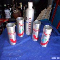 Coleccionismo Otros Botellas y Bebidas: BOTELLA Y VASOS DE ALUMINIO. Lote 126773943