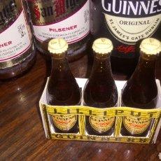 Coleccionismo Otros Botellas y Bebidas: CAJA CON 3 BOTELLAS DE CERVEZA GUINNESS LILLIPUT, MINIATURAS LLENAS CON SUS CHAPAS, TAPÓN CORONA. Lote 128710306