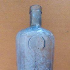 Coleccionismo Otros Botellas y Bebidas: BOTELLA DE VIDRIO AZUL MONTPLET DESTILERIAS BARCELONA LETRAS EN RELIEVE. Lote 130234422
