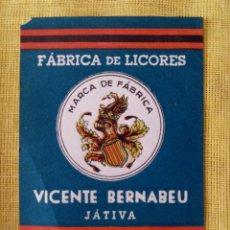 Coleccionismo Otros Botellas y Bebidas: ETIQUETA ANIS CIELO - FABRICA DE LICORES VICENTE BERNABEU - JATIVA - 8 X 5 CMS. Lote 130405326