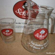 Coleccionismo Otros Botellas y Bebidas: JARRA Y 6 VASOS GASEOSAS SCHUSS SIN ESTRENAR. Lote 134792482