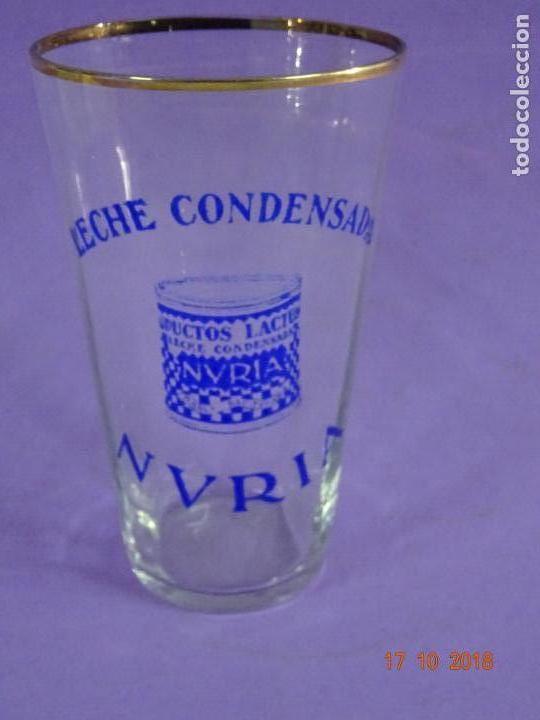 Coleccionismo Otros Botellas y Bebidas: Antiguo Vaso de Cristal Publicidad de Leche Condensada NURIA - Foto 5 - 136762538
