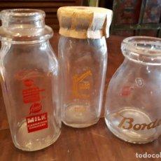 Coleccionismo Otros Botellas y Bebidas: LOTE 3 BOTELLAS LECHE MILK AMERICANAS. CRISTAL.. Lote 138877650