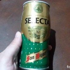 Coleccionismo Otros Botellas y Bebidas: LATA ANTIGUA ACERO DE CERVEZA SAN MIGUEL SELECTA BEER BIERE BIRRA. Lote 141039742